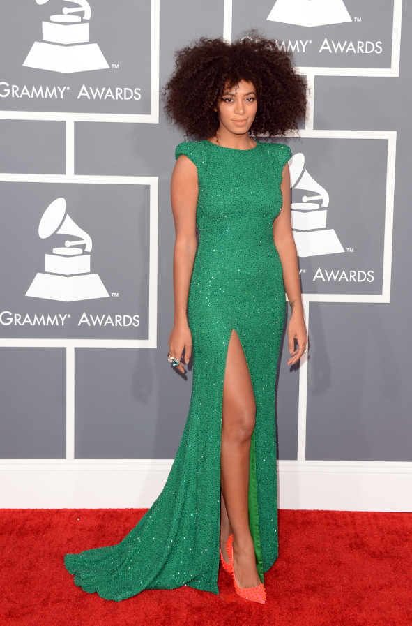 2013 Grammy Best Dress Solange Knowles Ralph & Russo Couture gown paired with Lorraine Schwartz jewels