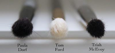 Paula Dorf Perfect Sheer Crease Brush,  Trish McEvoy #29 Tapered Blending Brush, Tom Ford 13 Eye Shadow Blend Brush