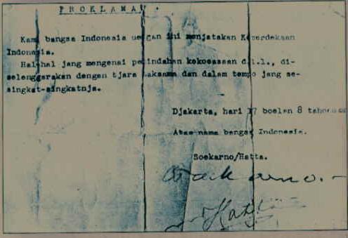 Naskah Proklamasi Kemerdekaan  Negara Kesatuan Republik Indonesia