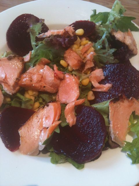 Salmon beetroot salad, http://georgebundlesfitness.blogspot.com/