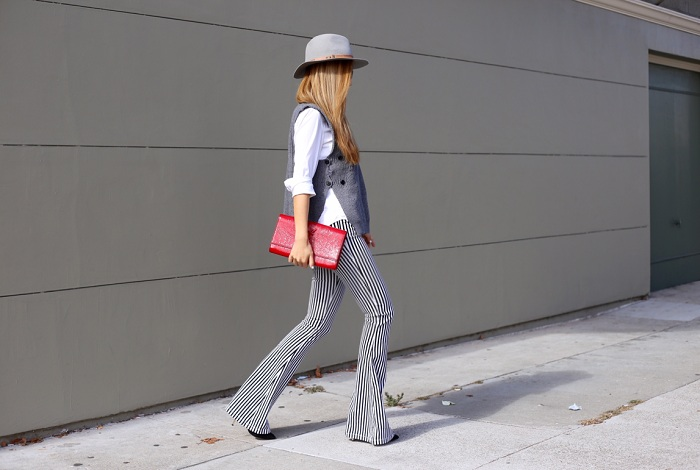 Shein sweater vest, j crew white shirt, alice and olivia stripe flare pants, casadei ankle booties, saint laurent clutch, kendra scott earrings, hat attack ny, chanel brooch, fashion blog, nyc blogger, san francisco street style, fall essentials, karen walker super duper sunglasses