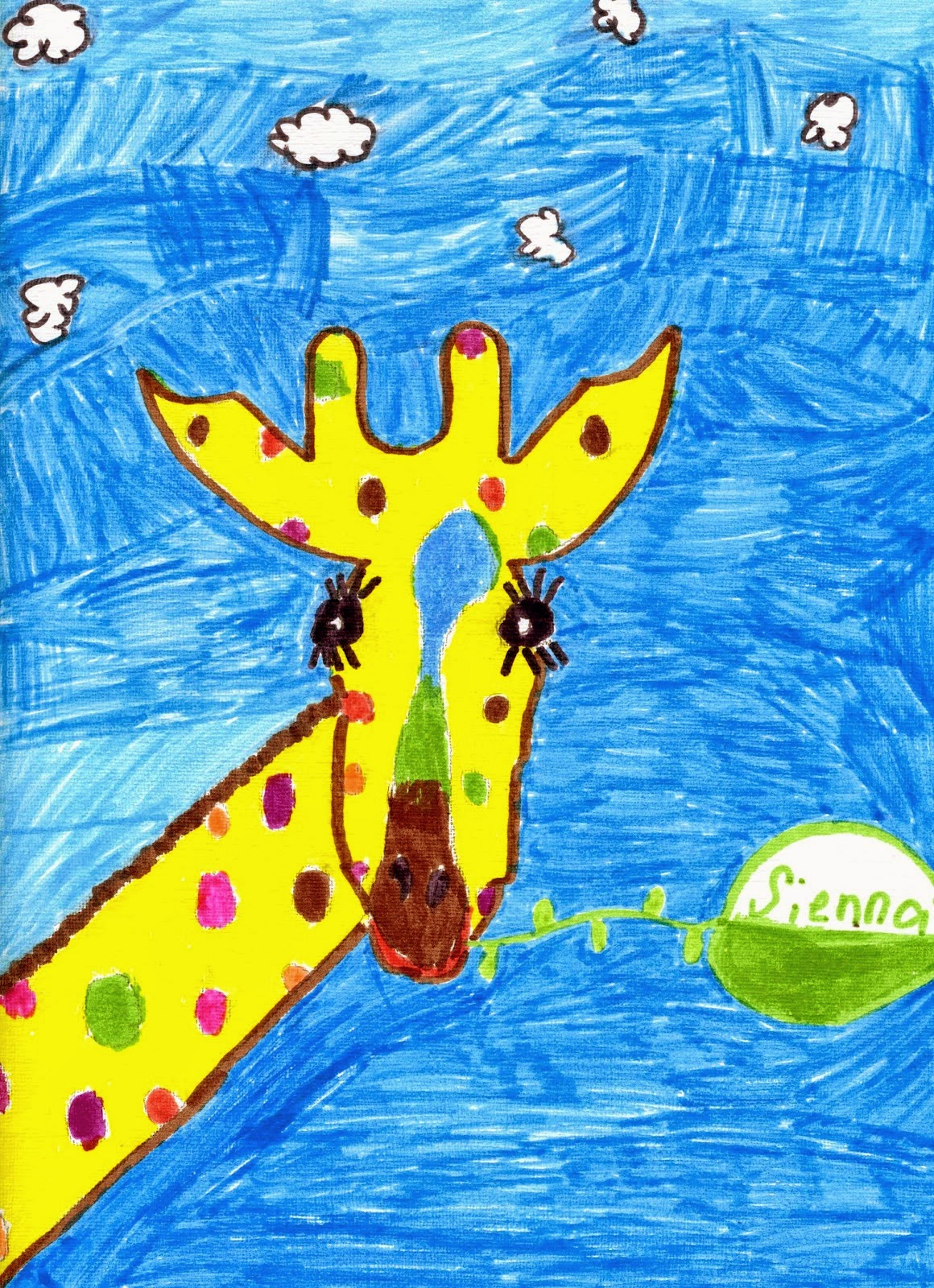 kid's art - giraffe drawing - spittin toad
