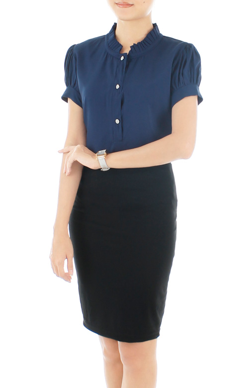 Midnight Blue Savvy Pleats High Neck Top