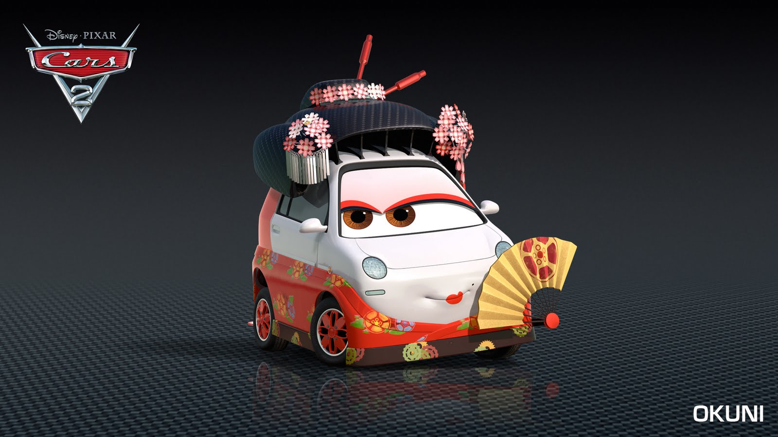 Okuni, a Japanese car in Cars 2 2011 animatedfilmreviews.blogspot.com