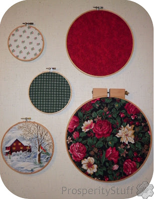 ProsperityStuff Christmas Fabric in Embroidery Hoops