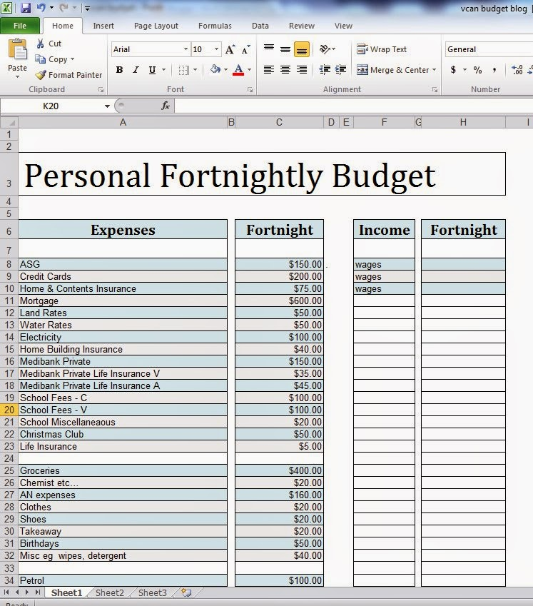 Fortnightly Budget Template 28 Images 28 Fortnightly