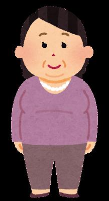 太った中年女性のイラスト(肥満)