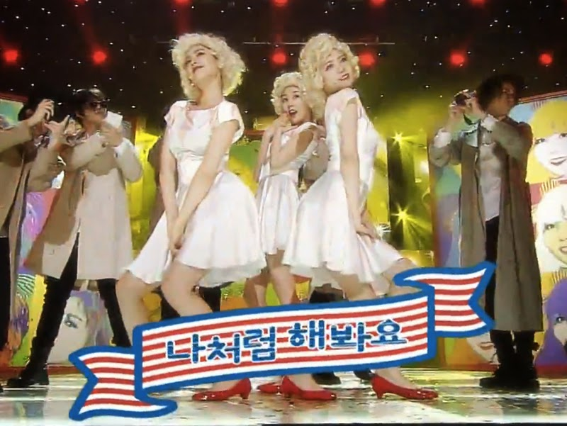 Orange Caramel Tribute to Marilyn Monroe at Inkigayo