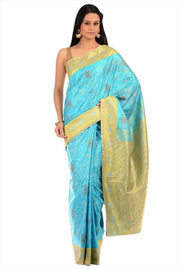 Sky Blue Satin Banarasi Saree