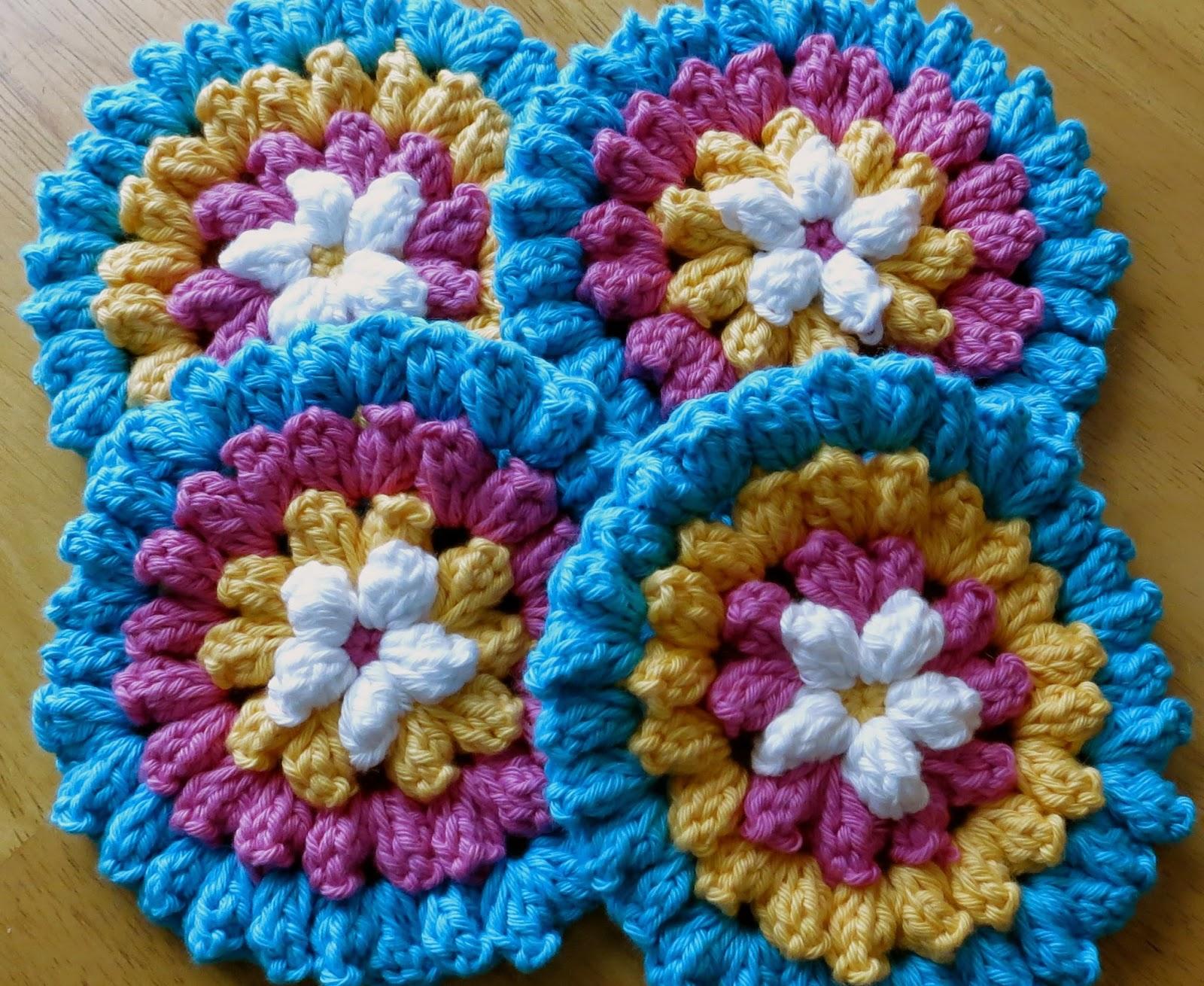 Crochet Popcorn Flower Free Pattern : Das Crochet Connection: Popcorn Flower Coasters