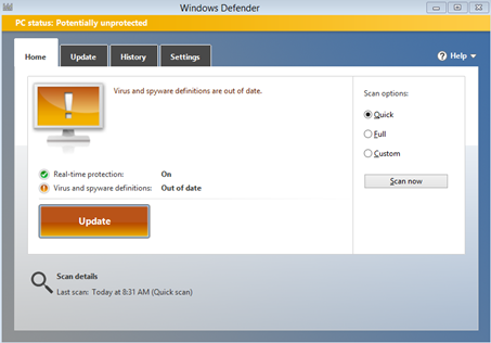 Windows Defender Update Required