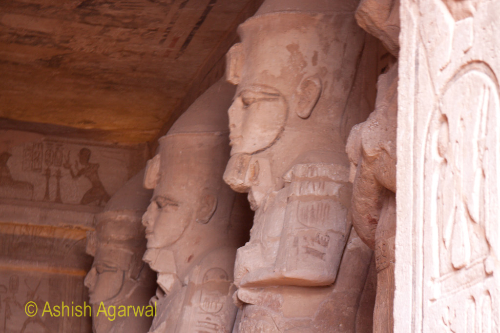 Statues lining the inner passage of the Abu Simbel temple in Egypt