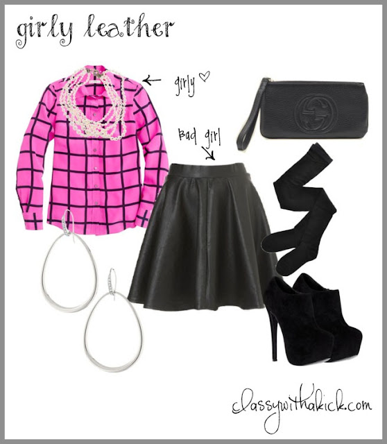 girly leather - silk shirt & leather skirt