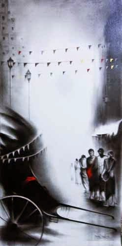 "2nd – 14th Feb.'15:  Pradarshak presents ""Glimpses of Kolkata"" charcoal and acrylic on canvas paintings by Yuvraj Patil."