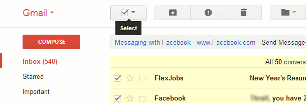select all emails