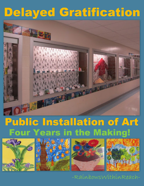 photo of: Ceramic tile installation in elementary school, Delayed gratification, Art tile
