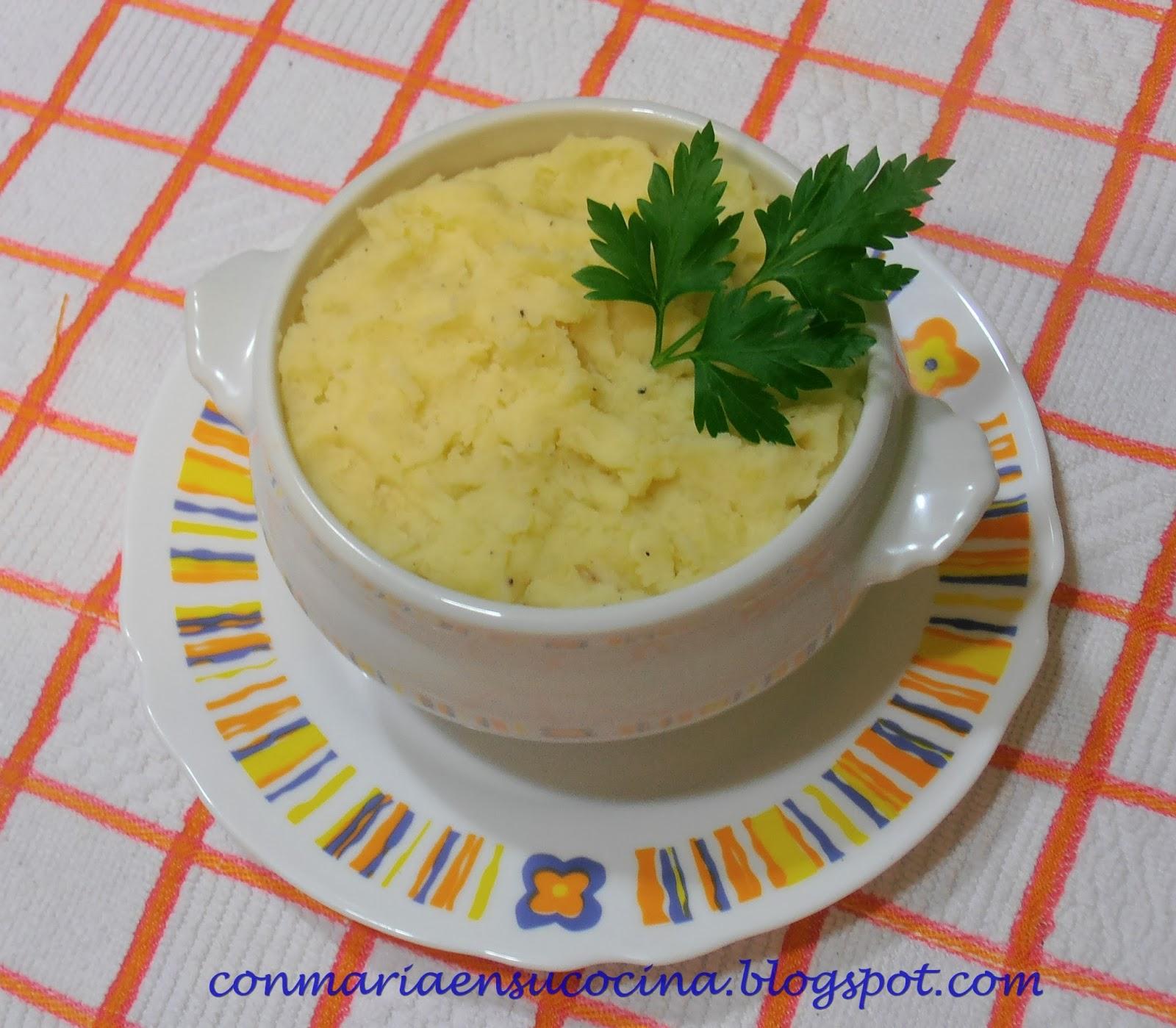 Con mar a en su cocina pur de patatas casero receta - Pure de patatas cremoso ...