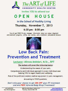 Open House: Low Back Pain: Prevention and Treatment, the Art of Life CHC, Toronto