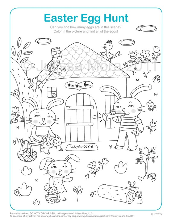 think this Easter Egg Hunt Coloring Printable from Julissa Mora on  title=