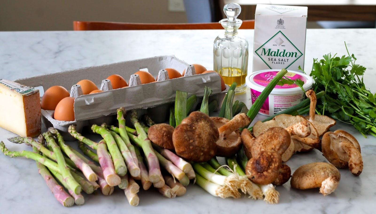 Saffron & Sun: Frittata with Asparagus, Scallions, Shiitaki Mushrooms ...