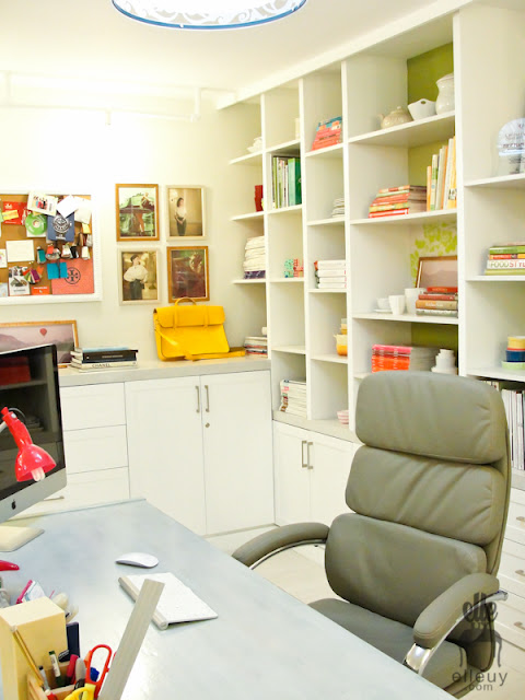 green home office, chic office, girly office, built-in shelves, fun shelves, green sofa, wall frame gallery, fun home office, styled shelves, switcheroom, elle uy