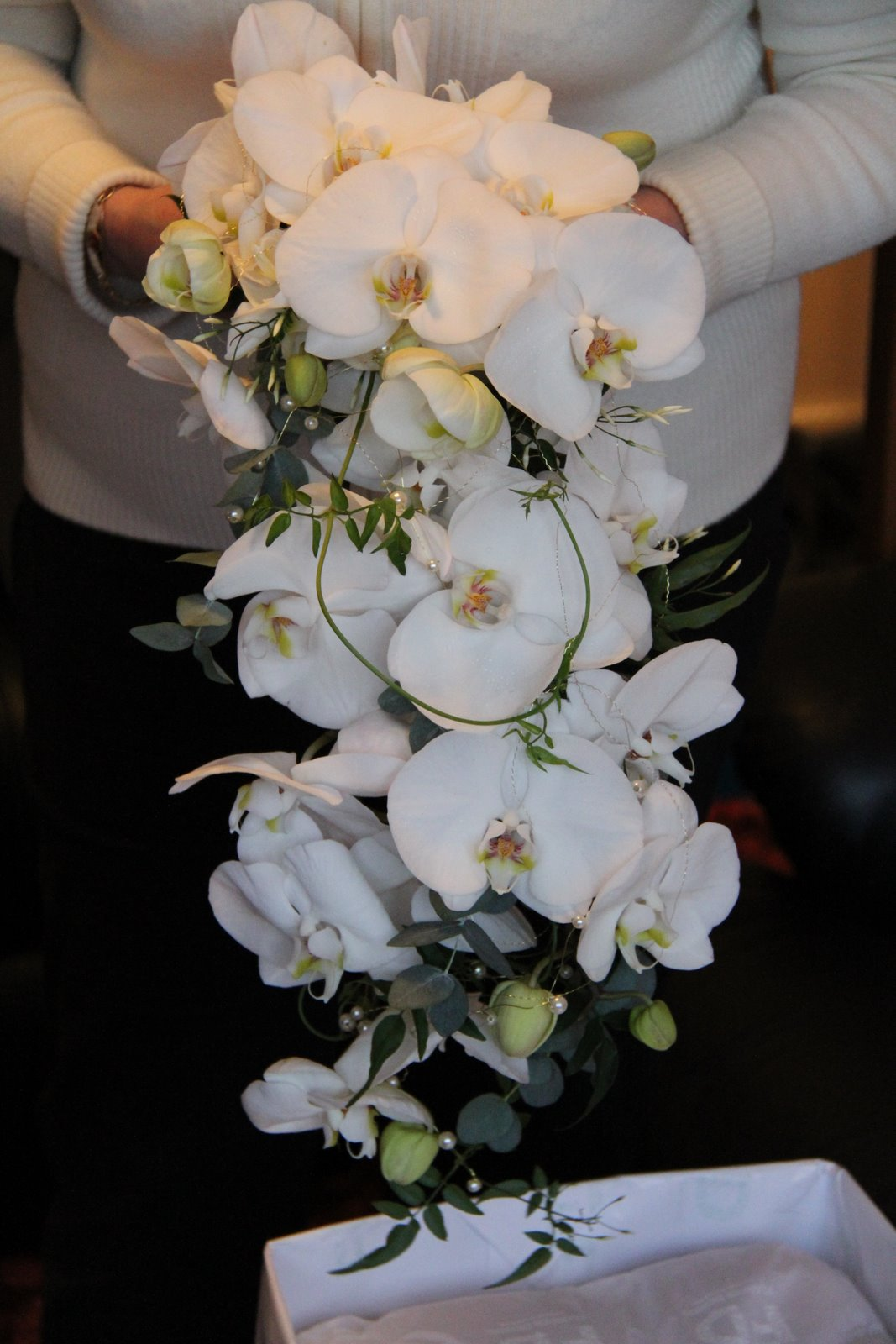 The Flower Magician: Phalaenopsis & Jasmine Cascade Wedding Bouquet