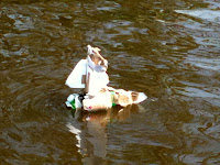Milk carton and Beer can raft