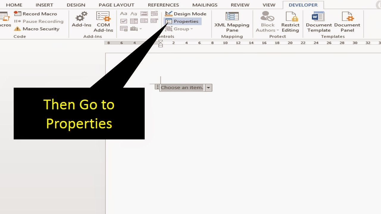 how to create drop down list in word 2007