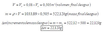 módulo de elasticidad volumétrico (k) del agua ejercicio 6