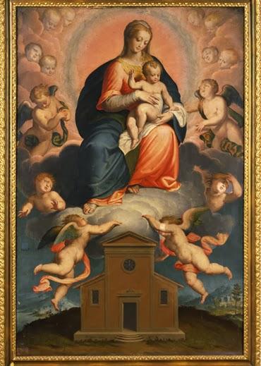 La Virgen con el Niño rodeada de angeles y con una casa a sus pies