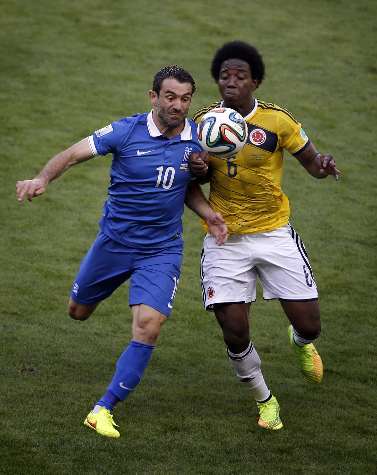 Brazil, Colombia Squad, Colombia vs Greece, Fernando Santos, FIFA World Cup, FIFA World Cup 2014, Football, Greece Squad, Group C, Konstantinos Manolas, Pablo Armero, Radamel Falcao, Sports, Teofilo Gutierrez,