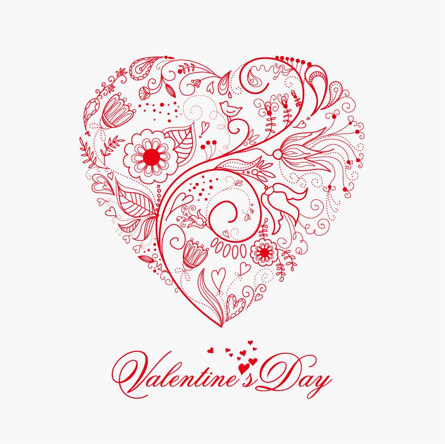 植物柄をハートに型どったバレンタインデーの背景 Beautiful Greeting Floral Heart イラスト素材