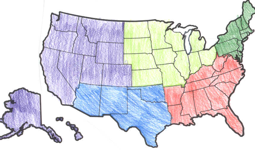 Blank Map Regions United States - 5 us regions map