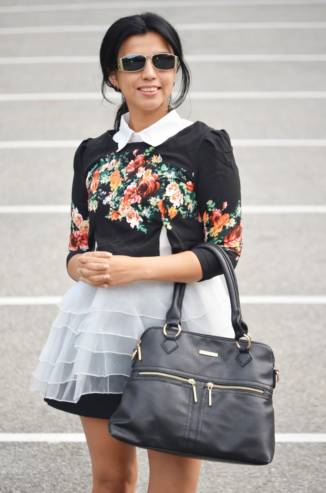 Black Floral and Organza Panel Dress