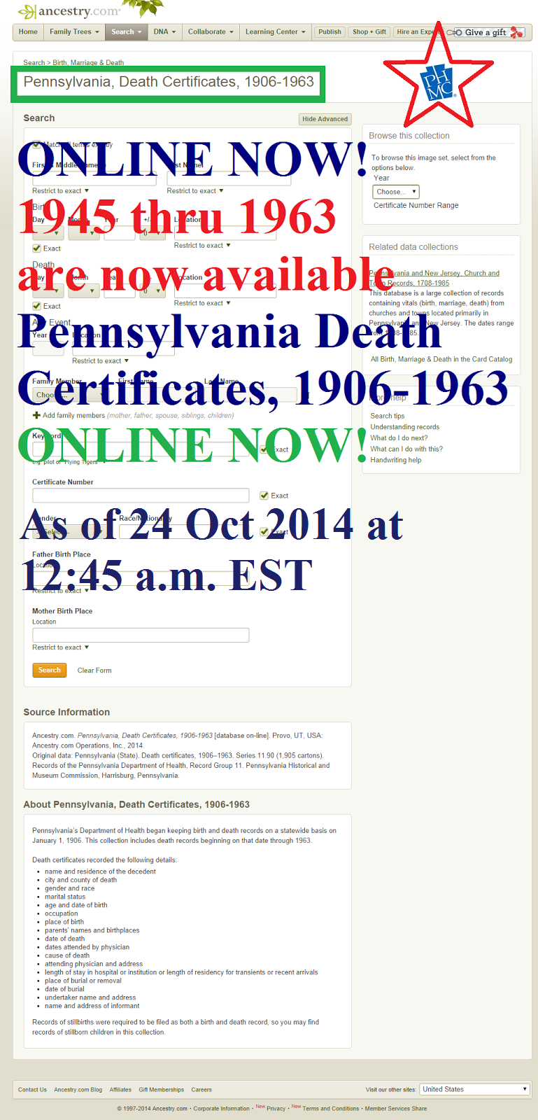 Allegheny Ancestry & Genealogy Trails: 1945 through 1963 ...
