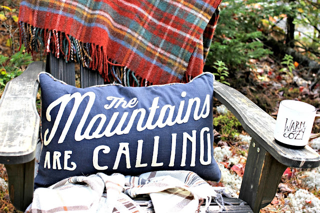 The mountains are calling throw pillow with fall foliage - www.goldenboysandme.com