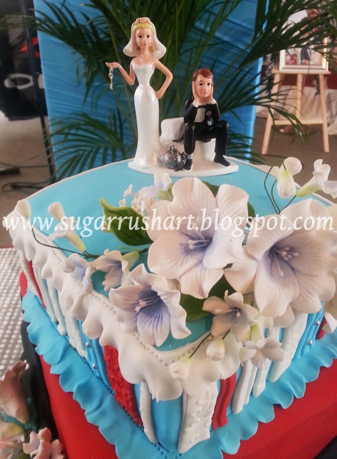 sugar rush art Tiffany Blue and Red wedding cake