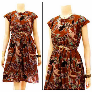 DB3607 Model Baju Dress Batik Modern Terbaru 2013