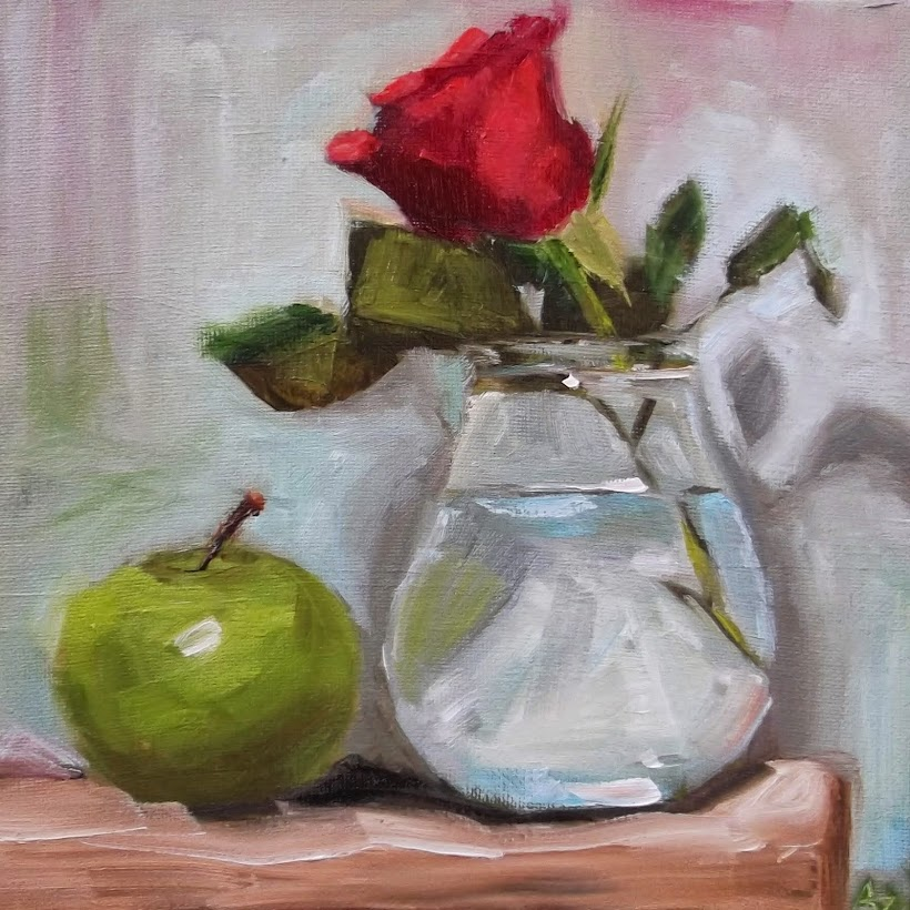 Red Rose and Green Apple