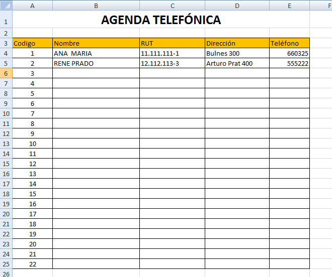 formato para agenda telefonica