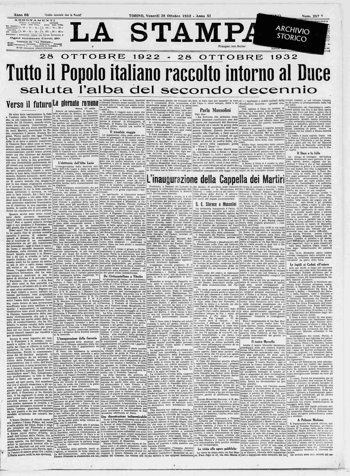 LA STAMPA 28 OTTOBRE 1932