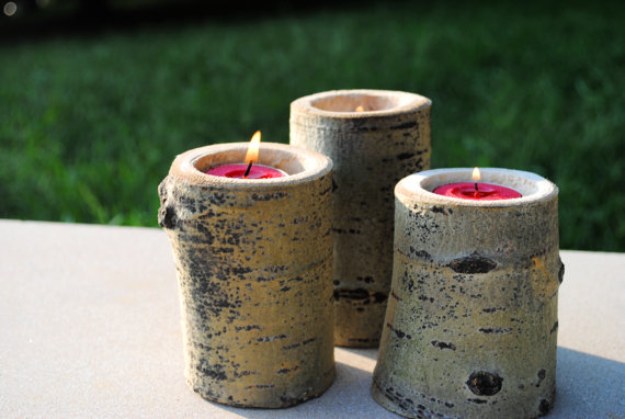 Pretty penny etsy eight fall finds for Log candle holder how to make