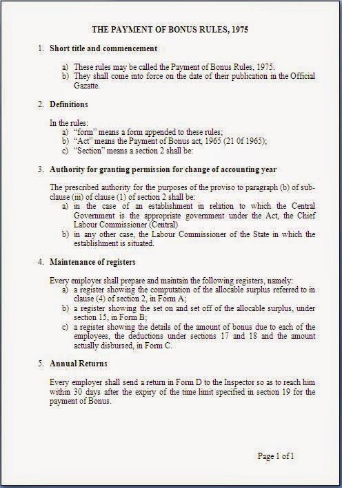 abstract of the payment of bonus rules 1975 in word