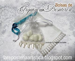 bolsas de organza con bisuteria tipo flecos recuerdos almendras