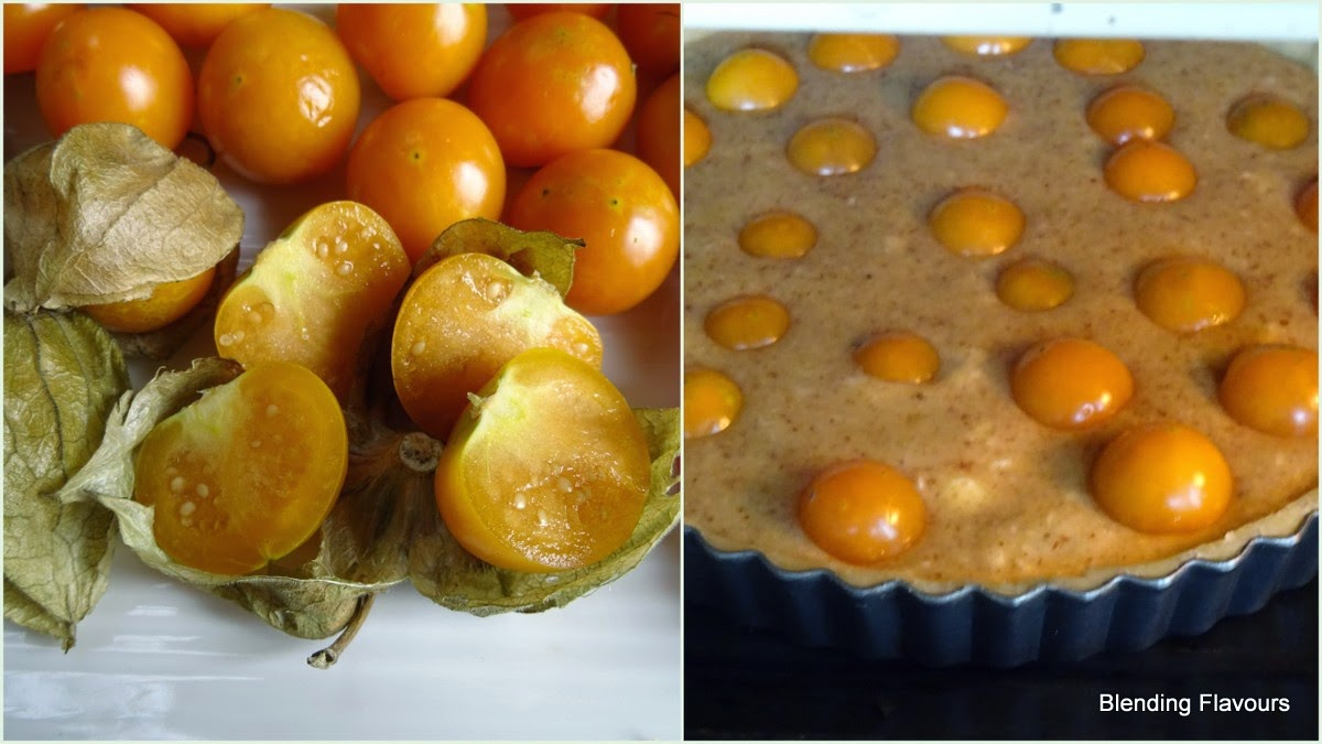 cape gooseberry tart with almond cream