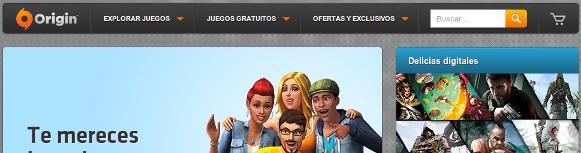 Captura de pantalla de la cabecera de Origin