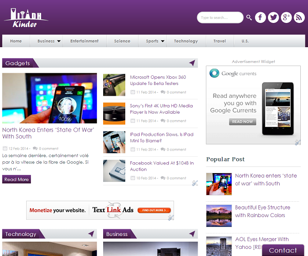 Kinder Responsive Blogger Template
