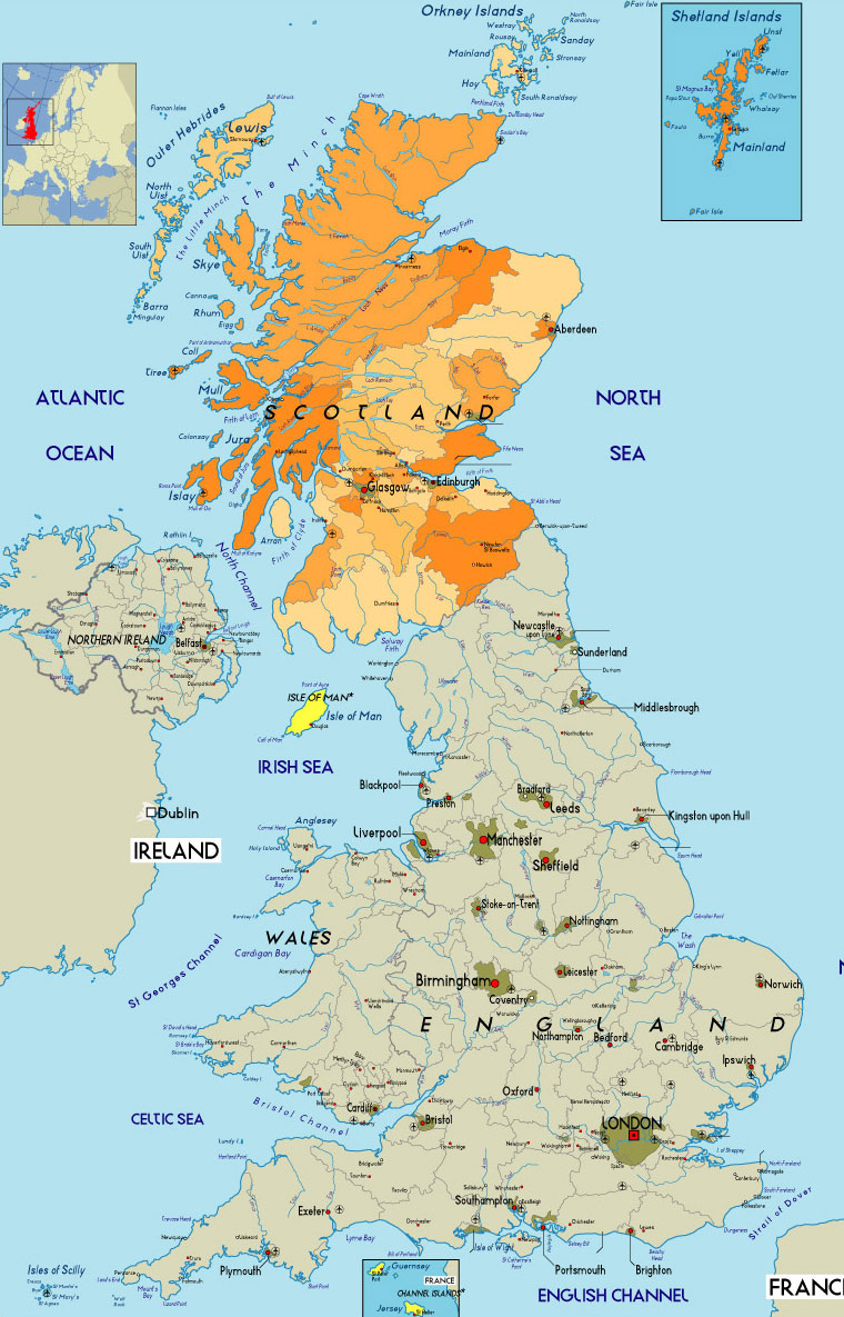 Scotland Map Region Ar...