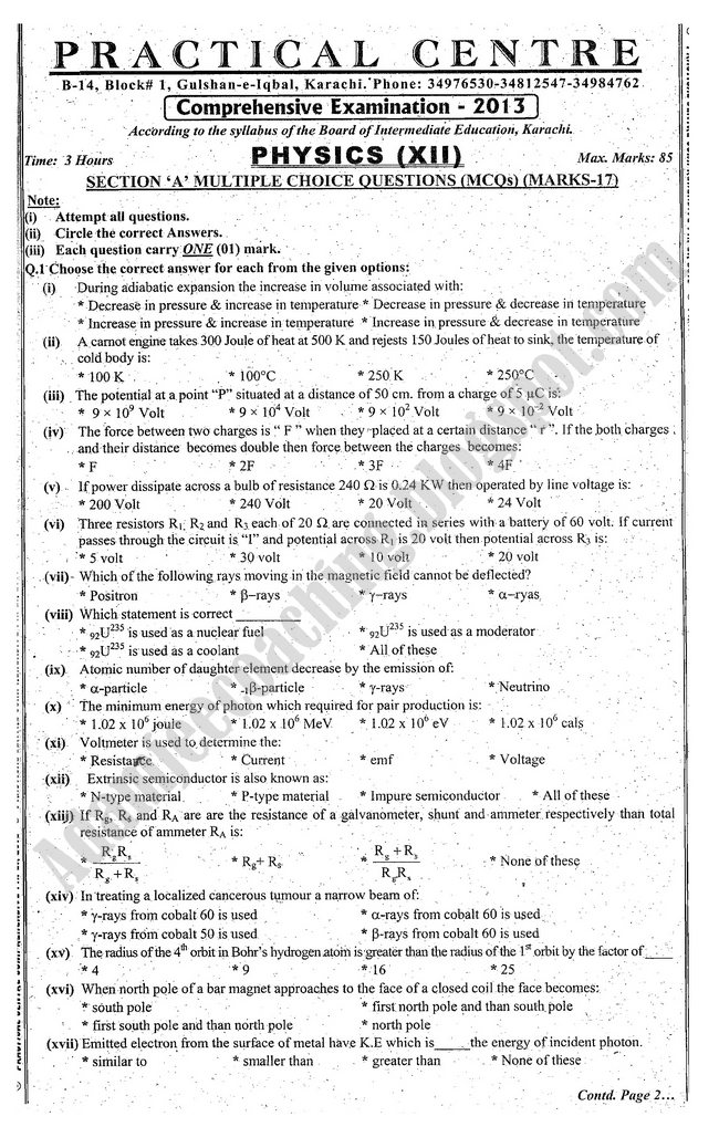 Physics Guess Paper 12th class 2013