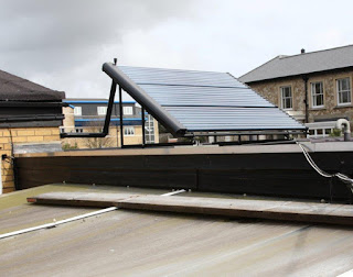 Solar thermal tubes located on roof